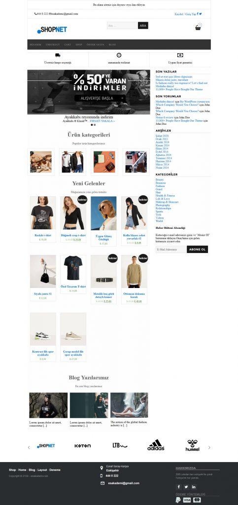 shopnet - e-ticaret teması